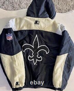 Vintage New Orleans Saints Starter Pro Line 1/2 Zip Puffer Jacket Large NFL