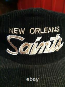 Vtg New Orleans Saints Script Sports Specialties Strapback Corduroy Hat The Cord